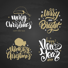 Vector illustration: Set of golden winter holidays inscription. Merry and Bright Christmas and Happy New Year on chalkboard background.