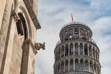 Pisa Tower and gargoyle