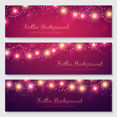 Festive header design for your site. Glowing light bulbs background. Vector illustration. Christmas banners set.