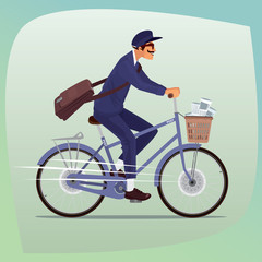 Adult funny man with mustache works as postman. He rides on bicycle with basket of newspapers and magazines. On the shoulder hanging bag with letters. Cartoon style