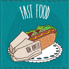 Appetizing hot dog in a paper package, lie on lacy napkin. Blue background and lettering Fast food. Handmade cartoon style