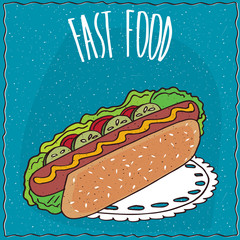 Appetizing hot dog with cucumbers and tomatoes, lie on lacy napkin. Blue background and lettering Fast food. Handmade cartoon style