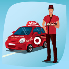 Asian man standing in national clothes and demonstrates sushi and rolls. In background, red branded delivery car with logo and inscription. Food delivery concept