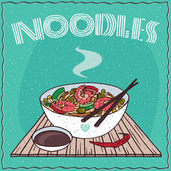 Japanese or Chinese noodle soup with vegetables and shrimp, in white bowl on wooden mat with chopsticks. Nearby chili pepper and soy sauce in cup. Hand drawn