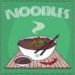 Japanese or Korean dish of brown buckwheat noodles and vegetables, known as Naengmyeon or Soba, in bowl on wooden mat with chopsticks. Nearby soy sauce. Hand drawn