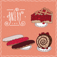 Bakery set with red berries, cherry or currant. Pie, Three different glazed eclair, Biscuit roll. Handmade cartoon style
