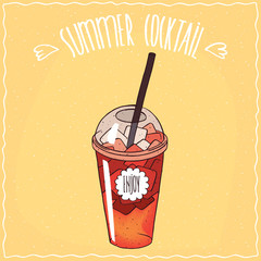 Drink such as berry lemonade with ice in transparent plastic cup with straw, on which the inscription Enjoy. Ornate lettering Summer cocktail. Handmade cartoon style