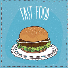 Classic hamburger with onion, steak and lettuce, lie on a lacy napkin. Blue background and lettering Fast food. Handmade cartoon style