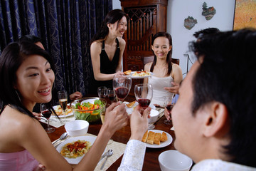 Couples having dinner party at home