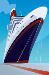 Huge cruise liner moored at the pier. Front view. Transportation or ship docked concept