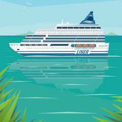 Big beautiful cruise liner slowly floats on flat surface of sea by the shore on a clear day. Side view. Voyage or marine adventure concept