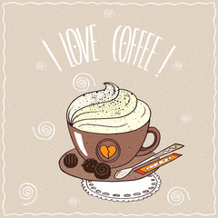Cute brown cup of coffee with whipped cream, on saucer with spoon, sugar stick and chocolate candies, lie on lacy napkin. Brown background. Handmade cartoon style