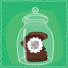 Large transparent glass jar with stack of round chocolate cookies inside. Cyan background. Handmade cartoon style