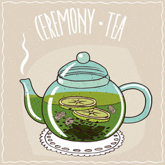 Transparent glass teapot with hot brewed tea with ginger and lime, lie on a lacy napkin. Beige background and ornate lettering Ceremony tea. Handmade cartoon style