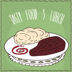 Delicious dish with Grilled Meat Steak and Portion of Mashed Potatoes, in cartoon style on green background. Hand draw Lettering Tasty Food And Lunch