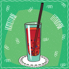 Homemade red berry lemonade in a glass with straw, lie on lacy napkin. Green background. Handmade cartoon style