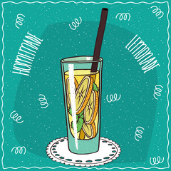 Homemade classic lemonade in a glass with straw, lie on lacy napkin. Cyan background. Handmade cartoon style