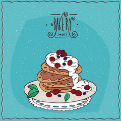 Stack of pancakes with sour cream and red berries, cherry or currant, lie on lacy napkin. Blue background and ornate lettering bakery. Handmade cartoon style