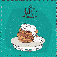 Stack of pancakes with sour cream, lie on lacy napkin. Cyan background and ornate lettering bakery. Handmade cartoon style