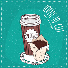 Striped paper cup of coffee, on which the inscription I love coffee, with chocolate muffin in white paper muffin cup. Take away concept. Handmade cartoon style