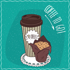Striped paper cup of coffee, on which the inscription I love coffee, with muffin in brown paper muffin cup. To go kit concept. Handmade cartoon style