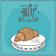 Perfect croissant lie on lacy napkin. Blue background and ornate lettering bakery. Handmade cartoon style