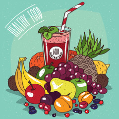 Big pile of different fruits, such as Banana, Pineapple, Pear, Grape, Kiwi, Lemon, Apple, Apricot, Orange, and glass of red fruit juice. Healthy Food Concept
