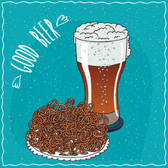 Pile of pretzels with glass of beer such as ale or lambic. Blue background and lettering Good beer. Handmade cartoon style