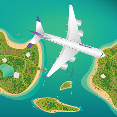Plane flies over a few tropical islands of different sizes with beaches and houses. Around float boats. View from above. Air traffic or international flights concept