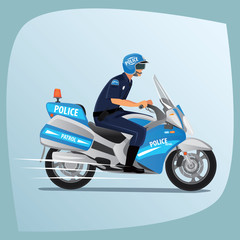 Police officer, man of police force, in uniform of policeman, with typical outfit for law enforcement agency, riding on motorcycle patrol. Side view
