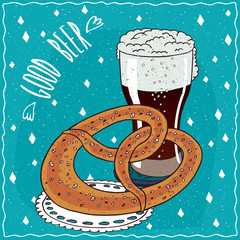 Baked bread similar to pretzel or kringle with glass of dark beer such as stout or porter. Blue background and lettering Good beer. Handmade cartoon style