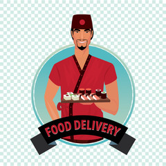 Isolate round icon on white background with Asian courier, man from catering service, holding sushi and rolls. Food delivery concept. Cartoon style