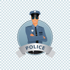 Isolate round icon on white background with police officer, man of police force, standing full face in uniform of policeman, with typical outfit for law enforcement