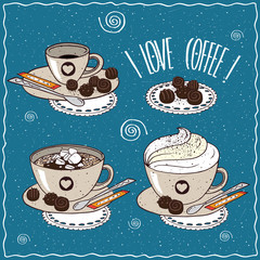 Set of different cups of coffee, small cup, with marshmallow, whipped cream, sugar stick and chocolate candies. Handmade cartoon style