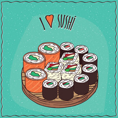 Set of different sushi rolls Maki or Makizushi type, on flat wooden plate. Cyan background and lettering I love sushi. Handmade cartoon style