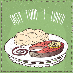 Delicious dish with Slice of Salmon and Portion of Mashed Potatoes, in cartoon style on green background. Hand draw Lettering Tasty Food And Lunch