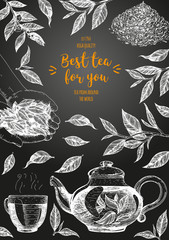 Vector illustration for Tea Shop. Vector card design with tea. Vertical poster for tea house. Vector hand drawn set. Linear graphic banner.