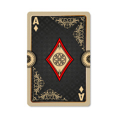 Ace of diamonds. Playing card vintage style. Casino and Poker. Ace of diamonds as a screen saver application, and wallpaper. Vintage deck of cards.