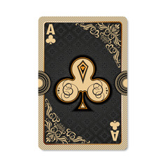 Ace of clubs. Playing card vintage style. Casino and Poker. Ace of clubs as a screen saver application, and wallpaper. Vintage deck of cards.
