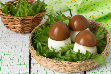 Creative idea of design of stuffed eggs in the form of porcini
