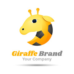 Giraffe Volume Logo Colorful. 3d Vector Design. Corporate identity