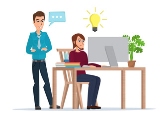 a man working at the computer comes up with a solution to the problem with the customer. Business idea concept. Vector illustration isolated on white background in flat style.