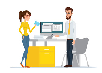 Vector image of the man and woman at their working place. Beautiful woman brings post. Vector illustration isolated on white background in flat style.