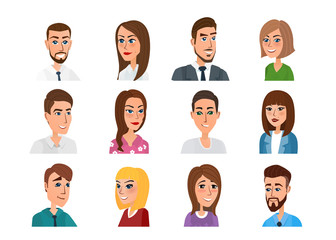 Men and women business and casual clothes icons. Business people flat avatars. Vector illustration isolated on white background in flat style.
