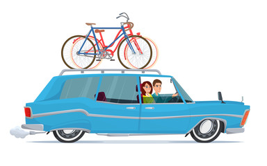Happy family riding in a blue car. Bicycle trip. Vector illustration isolated on white background in flat style.