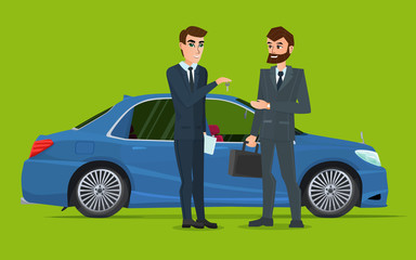 A Car sale handed to other man. A Contemporary style with pastel palette. Vector creative color illustrations flat design in flat modern style.