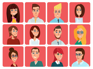 Business people flat avatars. Men and women business and casual clothes icons. Vector creative color illustrations flat design in flat modern style.