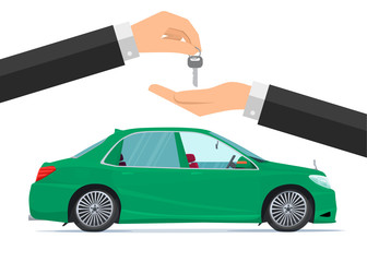 Flat design concept of rent a car. Business cartoon concept. Vector illustration isolated on white background in flat style.