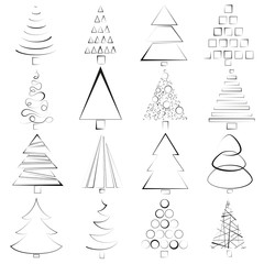 hand drawn set of Christmas trees of different shapes