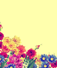 Bright spring flowers on a yellow background.